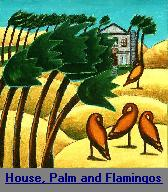 House, Palms and Flamingos